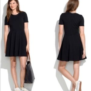 MADEWELL Black LEATHER TRIM DRESS A Line XS